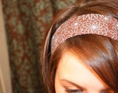Brown Turquoise Floral NO SLIP HEADBAND Trendy Fabric Headbands