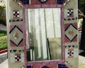 Sophisticated Pink Mosaic with Mirror - Original Artwork
