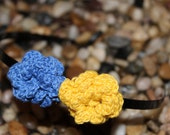Crochet Flower Hairband- in blue and gold