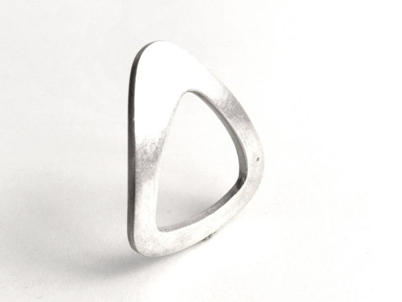 Unusual Geometric Minimalist Unique Ring Sterling Silver