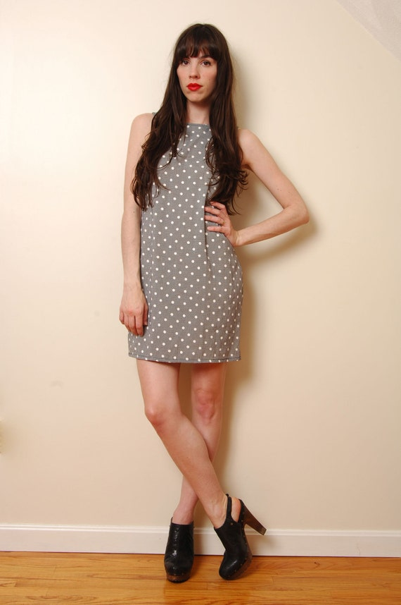 ON HOLD Black and White Gingham and Polka Dot Minidress Size S