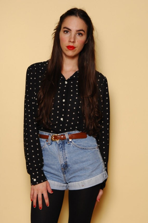 90s Black and White Polka Dot Button Up Oxford Size S