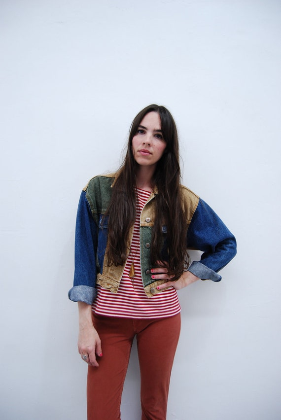 1990s Faded Multi Color Jean Jacket Size S