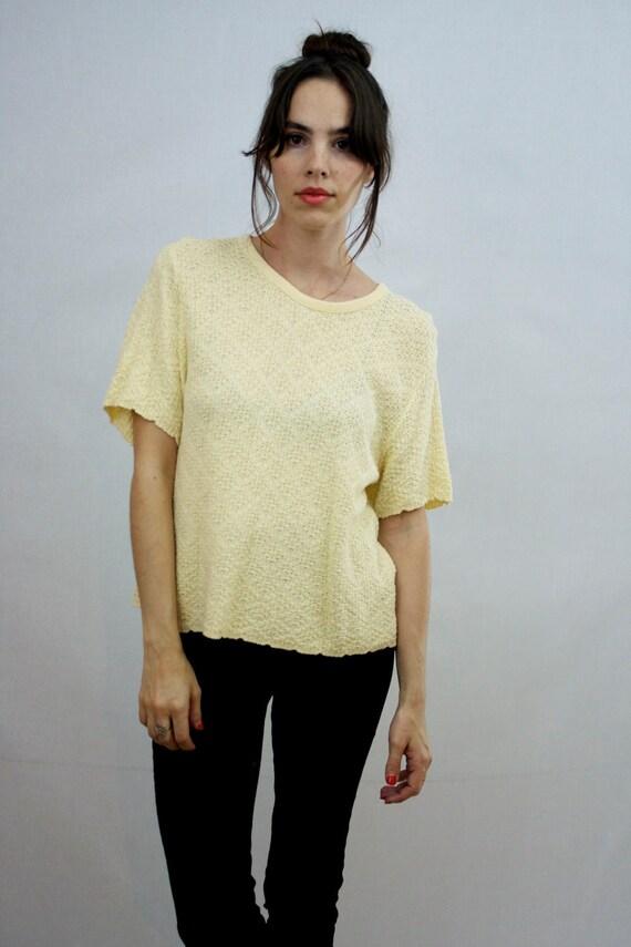 1980s Citron Knit Shirt Size S-M