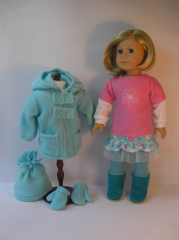 1597 Aqua and Pink  Winter Outfit  for 18 Inch Dolls
