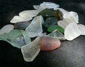 Hawaiian Sea Glass, 24 variety shaped frosty whites,tourquise, green, amber and pale aqua sea gems, Lot7long