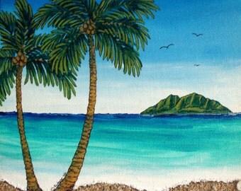 """2 Palms 3 Birds, Original pianting, art,editions,and original. 5""""x7"""" canvas"""