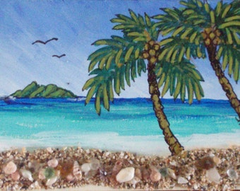 Two Birds Island, original ACEO,  matted to 5 in. x 7 in.