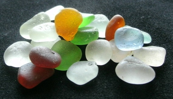 Hawaiian Sea Glass, Vintage,smooth formed natural and authentic beach gems, frost white,  aqua, cornflower blue, amber, green Lot 21 MSS
