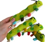 Organic Baby Inchworm Infant Rattle Color Teether