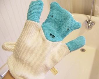 Polar Bear Organic Bath Wash Cloth Hand Mitten Blue Cream