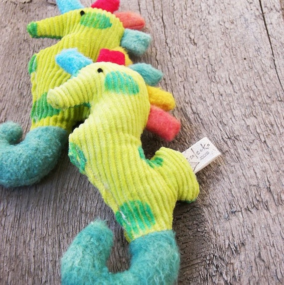 Organic Baby Rattle Seahorse Teether by ecoleeko on Etsy