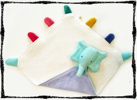 Organic Baby Snuggle Tag Blanket Elly Elephant Lovey