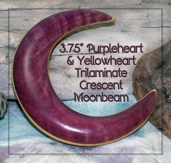 3.75 inch Curly Purpleheart & Yellowheart Tri-Laminate Crescent Moon Hair Fork