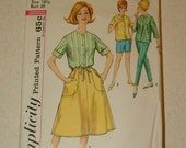 Vintage 1970's Simpliicty 4950 Blouse, Wrap-Around Skirt and Pants Pattern Size 18.5