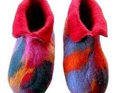 SALE Multi Coloured Adult Felt Slippers