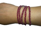 CLEARANCE Red macrame wrap bracelet with silver seed beads