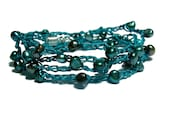 34 inch Teal crochet necklace or wrap bracelet with Cultured Pearls