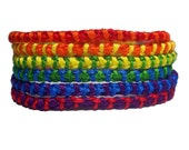 Set of 6 friendship bracelets-Colorful Rainbow Striped print