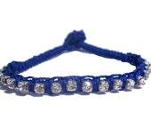 Royal Blue Macrame Rhinestone bracelet