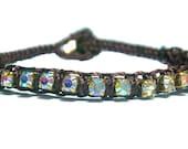 Brown Macrame Rhinestone Crystal AB bracelet