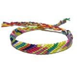 Friendship Bracelet classic style in tie dye colorful stripes