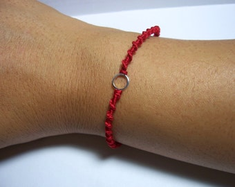 MICRO Circle of Friendship Bracelet Red/silver