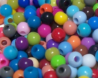 BULK 6mm Smooth Round Acrylic Beads in a colorful mix 500pcs