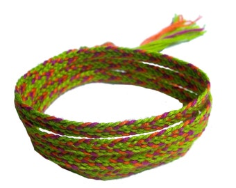 Kumihimo woven 4X wrap bracelet in Peridot, orange and fuchsia colors