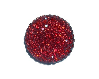 18mm round and sparkly cabochon in ruby red