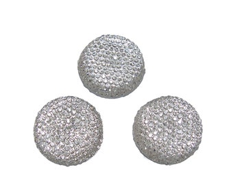 Resin rhinestone 24mm round and faceted cabochon in crystal clear (3)