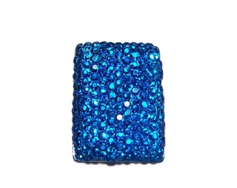 Rectangular shape cabochon 18x25mm in faceted Sapphire Blue