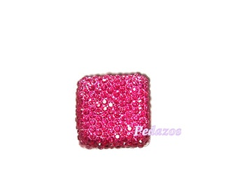 Square cabochon faceted Hot Pink