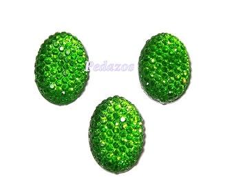 Green resin rhinestone cabochons 18mm x 13mm oval set of 3
