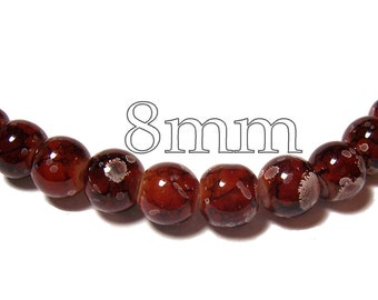 8mm Glass Beads in Mocha 25