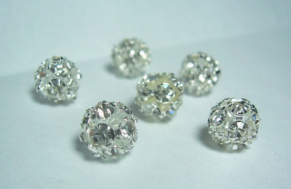 Rhinestone ball beads set of 6 Preciosa 8mm silver plated