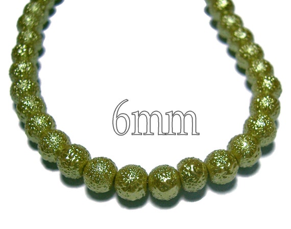 6mm Olive plastic beads textured and round