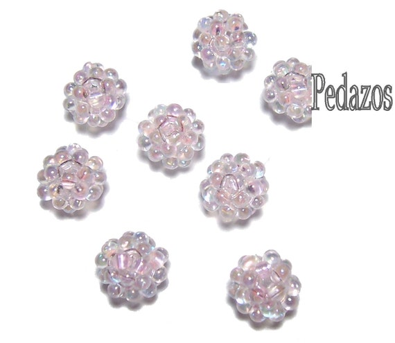 Lampwork Style Beaded Beads in Light Pink AB