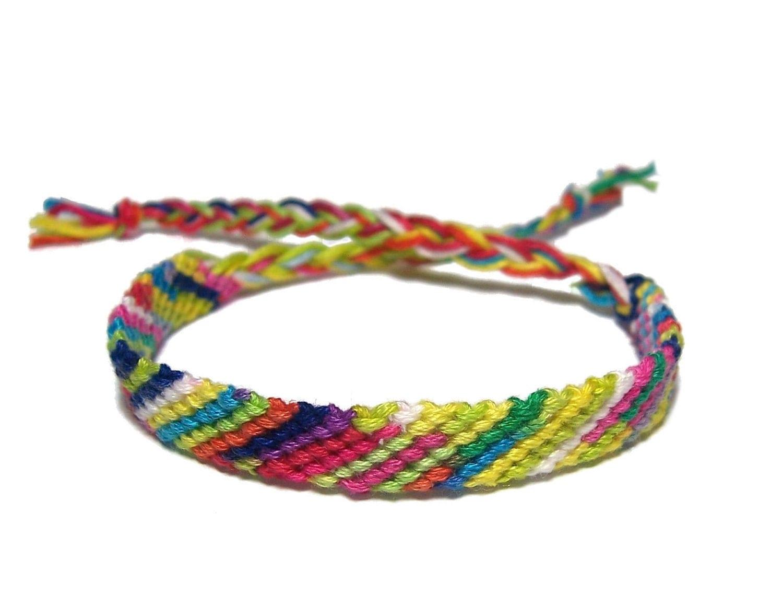 friendship bracelet classic style in tie dye colorful stripes. Black Bedroom Furniture Sets. Home Design Ideas