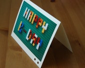 personalized card with colorful blocks (happy birthday or wedding or with your initial)