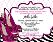 Zebra Heels Pink and Black Bachelorette Party Invitation - Customizable and PRINTABLE