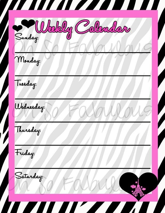 Printable Weekly Calendar Planner To-Do List Pink by OhSoFabulous
