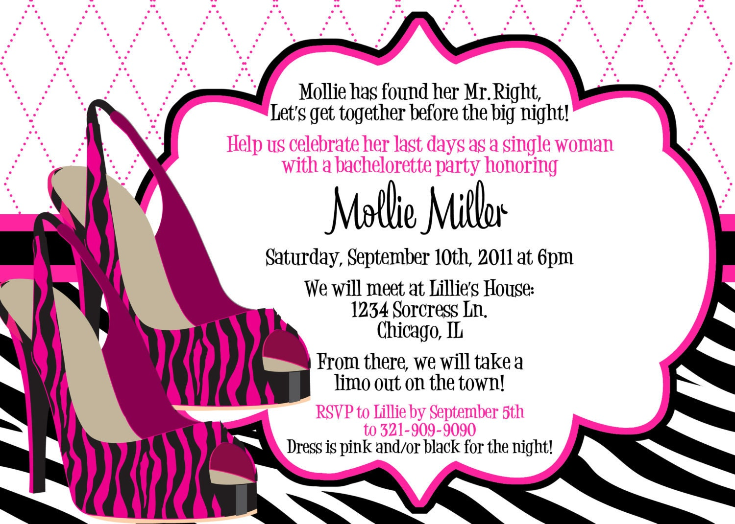 Items similar to Zebra Heels Pink and Black Bachelorette Party Invitation - Customizable and ...