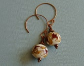 Cranberry and Cream Lampwork and Copper Earrings