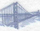 Golden Gate Bridge - Embroidered Flour Sack Hand Towel, YOU PICK COLORS, COMPLETELY CUSTOM