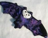 Purple Stars and Moons with Purple Black nose Bat Coffee Cozy, Cup Sleeve, Stuffed Animal