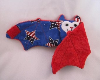 4th of July Bat Stuffed Animal\/Coffee Cozie\/Cup Sleeve - Stars and Stripes in a Star