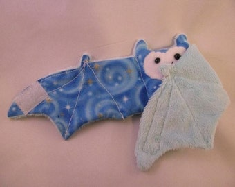 GLOW in THE DARK bat on blue faux fur - Cup Sleeve/Coffee Cozie/