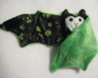 St Patricks Day Bat Stuffed Animal,  Cup Cozie or Coffee Cup Sleeve