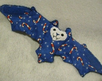 Candy Canes on Blue Bat Coffee Cozy, Cup Sleeve, Stuffed Animal